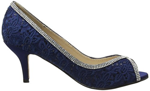 Quiz Diamante Lace Peep Toes Court - Zapatos Mujer azul (marino)