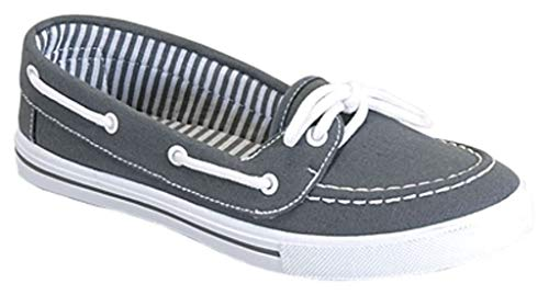 Pictures of RL Perla 82 Canvas Lace Up Flat Grey 10 M US 1