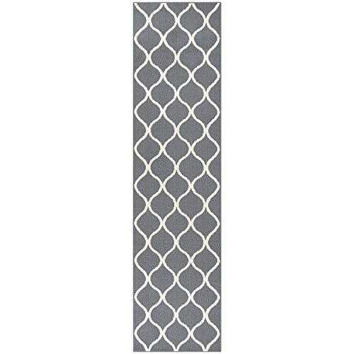 Maples Rugs Runner Rug - Rebecca 2'6 x 10' Non Skid Hallway Carpet Entry Rugs Runners [Made in USA] for Kitchen and Entryway, Grey/White