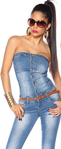 Stretch Maniche Store Overall Intera Senza Jeans Tuta Blanco Jumpsuit Denim xTfqXgO