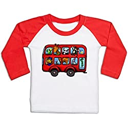 London Zoo Bus Long Sleeve Baby Baseball T-shirt - White/Red 18/24 Months