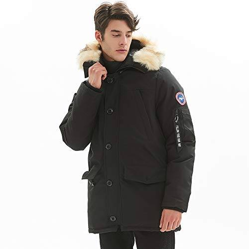 PUREMSX Men's Down Alternative Jacket Insulated Expedition Mountain Thicken Lined Fur Hooded Long Anorak Parka Padded Coat,Black,Large (Men Down Jacket Long)