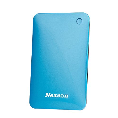 Price comparison product image Nexcon 10000mAh Ultra Slim Dual USB output Portable Charger Power Bank External Battery Charger for iPhone iPad Samsung Galaxy Android Phone Smartphone Tablets Pc Bluetooth Speaker (Blue)