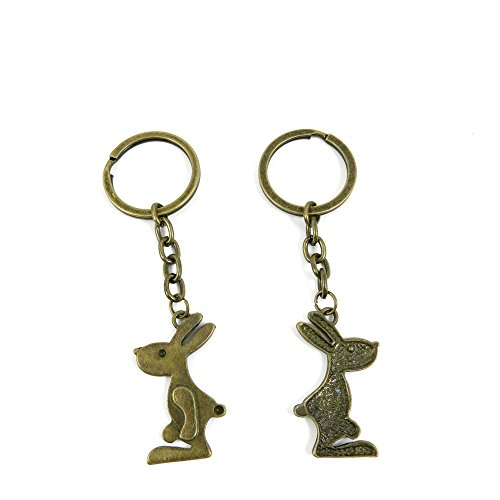 100 Pieces Ancient Bronze Keychain Keyring Key Chain Ring Charms Jewelry Making Handmade O4VZ4 Rabbit Playboy
