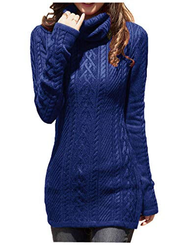 v28 Women Polo Neck Knit Stretchable Elasticity Long Slim Sweater 1216,Blue Clothing Hand Knit Sweaters