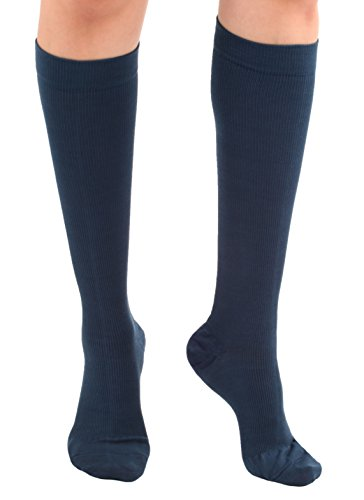 - Graduated Cotton Compression Socks - Unisex Firm Support 20-30mmHg, Support Knee High's - Closed Toe, Color Navy, Size Medium- Absolute Support, SKU: A105