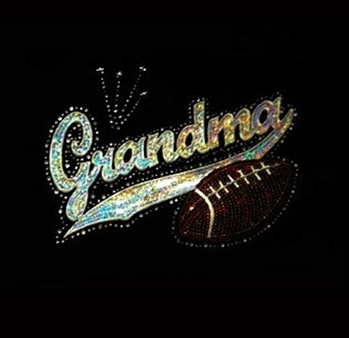 Grandma with Football Rhinestone and Sequin Iron on Transfer