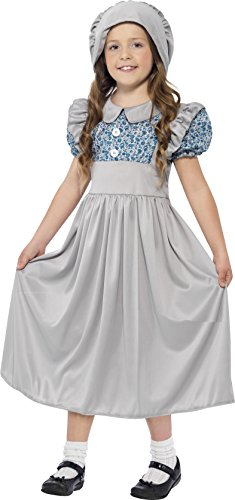 Smiffy's Victorian School Girl Costume, Grey, Medium