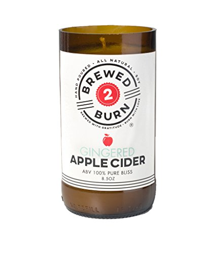 Brewed2Burn - Gingered Apple Cider Craft Beer Scented Candle 8.5oz All-Natural Soy Wax - Hand-Poured Authentic Beer Bottle ABV 100% Pure Bliss| Bright & Crisp: Apples, Crust, Ginger & Sugar
