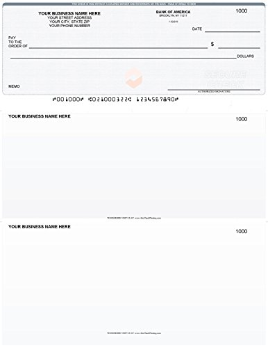 100 Printed Laser Business Checks  100 Sheets    Laser Printed Vouchers   Envelope Size Check On Top   Linen Gray