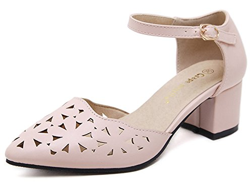 Aisun Women's Sexy Cut out Pointed Toe Buckled Ankle Strap Medium Block Heel Sandals Pink