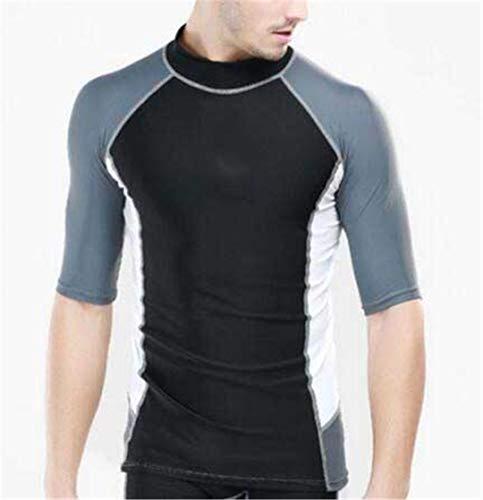 Men Plus Size Wetsuit Swimming Trunks Two Pieces Snorkel Swimsuit Surfing Diving Suit Bodysuit Suit Black Blue L