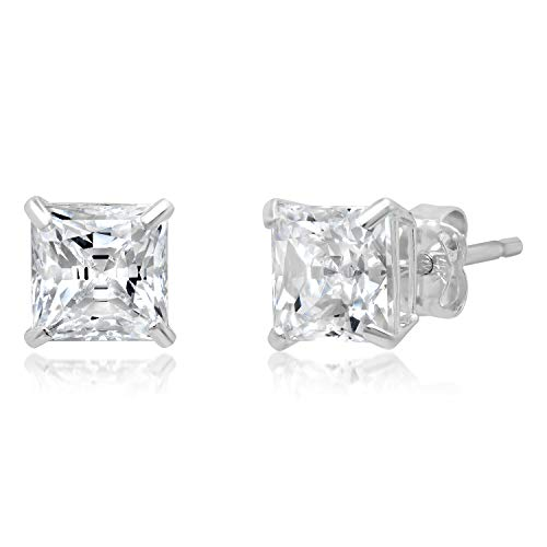 14k Solid White Gold PRINCESS Stud Earrings with Genuine Swarovski Zirconia | 2.0 CT.TW. | With Gift Box Black Stud Earring Box
