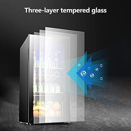 SHENXINCI Diseño de Tres Zonas de Temperatura Vinotecas Termostato de Vidrio de Una Puerta,Estante Móvil Incorporado E Iluminación LED,Rango de Temperatura: -6~12 ℃,90L / 120L / 165L
