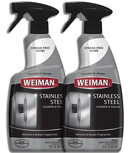 Weiman Stainless Steel Cleaner and Polish - 22 Ounce [2 Pack] - Protects Appliances from Fingerprints and Leaves a Streak-Free Shine for Refrigerator Dishwasher Oven Grill etc - 44 Ounce Total (Steel Cleaner Best Stainless)