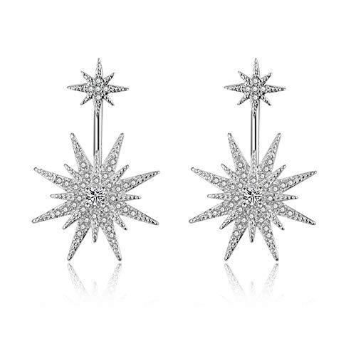 Dangle Jacket - Sparkling CZ Star Ear Jackets Sterling Silver Stud Dangle Drop Earrings for Women Girls Unique Starlet Fashion Engagement Piercing Dangling Jewelry Hypoallergenic 2019