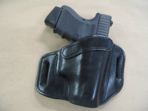 Glock 26, 27, 33 OWB Leather 2 Slot Molded Pancake Belt Holster CCW BLACK RH
