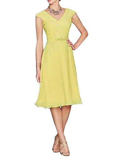 der mit Jacke Kleid Braut Linie Bolero V kurz Frauen Gelb Ausschnitt Mutter Chiffon HWAN eine 1q7Px4W8
