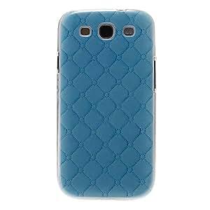 Conseguir Modelo azul Gridding cubierta del estuche duro de protección de plástico para el Samsung Galaxy S3 I9300