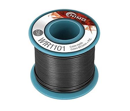 Negro Cable r/ígido 0,5mm para conexionado carrete 25 metros