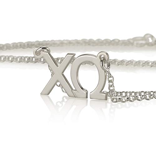 Personalized Necklace Omega (Chi Omega Necklace 925 Sterling Silver, Personalized Sorority Jewelry Gifts)