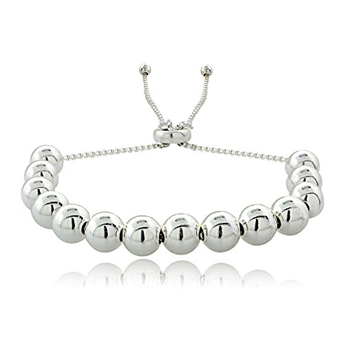 Hoops & Loops Sterling Silver Bead Adjustable Pull String Bracelet (Beaded Silver Necklace)