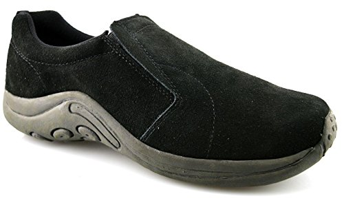 Mens Leather Suede Jungle Moc Hiking Walking Slip On Trainers Casual Shoes Size - Black - UK 14