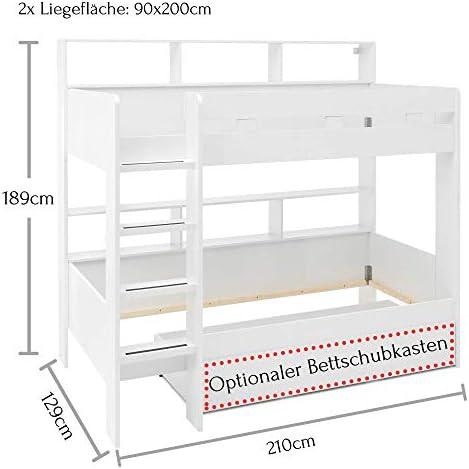 Gaius Hochbett mit Leiter & zwei Liegeflächen 90 x 200 cm - Platzsparendes Kinder Etagenbett in weiß - 129 x 189 x 210 cm (B/H/T)
