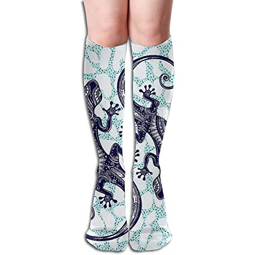 Bandnae 19.68 Inch Compression Socks Ornate Gecko Lizard High Boots Stockings Long Hose for Yoga Walking for Women Man