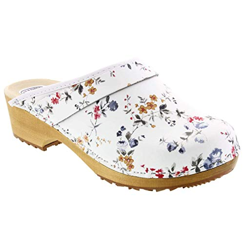 Bjork Linnea Wood Open Back Flower Print Leather Clogs (EU-38) White