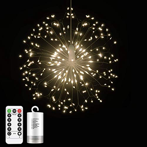 hts, Firework Lights Battery Powered,Hanging Fairy String Lights,198 LED 8 Modes Dimmable Decoration Light for Home Patio Christmas New Year Party (Warm White) ()