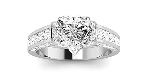 1.6 Carat Platinum Contemporary Channel Set Princess And Pave Round Cut Heart Shape Diamond Engagement Ring (I Color SI2 Clarity)