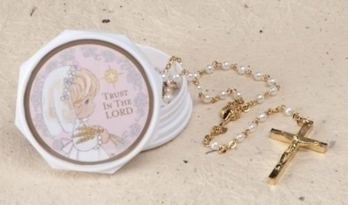 Precious Moments 15 inch First Communion Rosary with Box for Girl ()