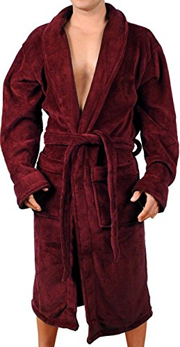Wanted Men's Lightweight Plush Fleece Shawl Collar Kimono Robe (Burgundy, -