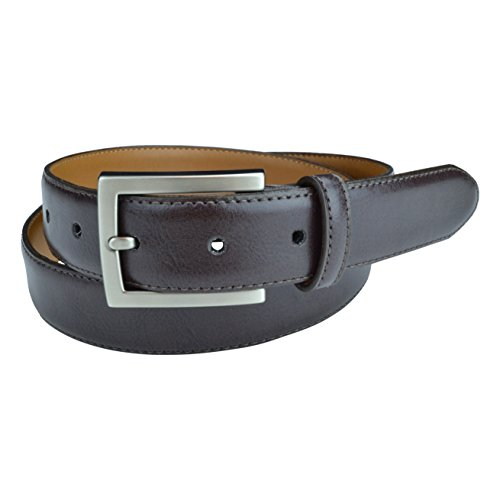 "Mens Casual Belts, Made with Recycled Materials and Cruelty Free Products, Vegan Belt, Genuine Non Leather Belt with ""Brushed Gun-Nickel"" Belt Buckle, Truth Smith (Brown, 32)"