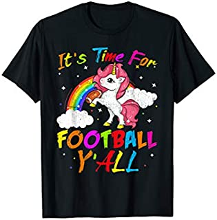 [Featured] It's Time For Football Y'all Gift Cute Unicorn Football tee in ALL styles | Size S - 5XL