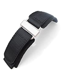 24mm MiLTAT Honeycomb Black Nylon Velcro Fastener Watch Strap Sandblast Buckle
