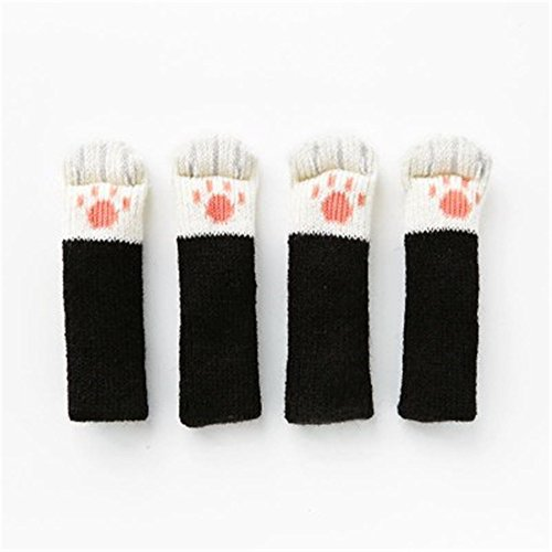 Humasol Cute Chair Leg Floor Protectors Table Leg Caps Feet Glides Knitted Cat Paws Furniture Socks (Rectangle Leg Extension Table)