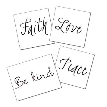 Amazon.com : Quote Temporary Tattoos - Peace, Be Kind, Love, Faith ...