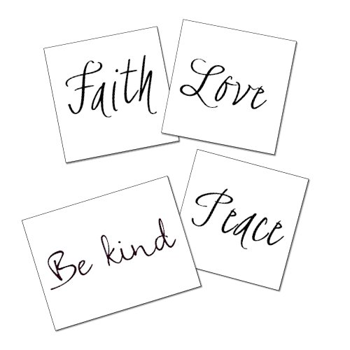 (Quote Temporary Tattoos - Peace, Be Kind, Love, Faith Inspirational Words Tattoo Set of 8 - Great Gift - Script - Quote Tattoo Accessory - Semi-Permanent Tattoo - 50% Bulk)
