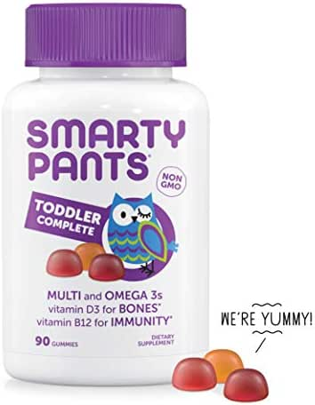 SmartyPants Toddler Daily Gummy Vitamins Complete: Multivitamin, Gluten Free, Omega-3 Fish Oil (EPA/DHA Fatty Acids), Vitamin D3, Vitamin B12, Iodine, Vitamin E, 90 Count (30 Day Supply)