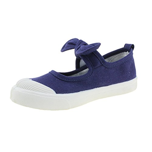 Mary Jane Blue Canvas (Chiximaxu Maxu Girl's Canvas Flats Princess Bowknot Shoes,Dark Blue,Toddler Size 9.5)