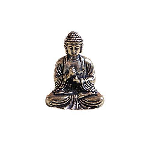 (DMtse Brass Mini Antique Sakyamuni Buddha Statue Ornaments Meditation Seated Pose Journey Worship Attractive & Serene Small Buddha Statue Figurine)