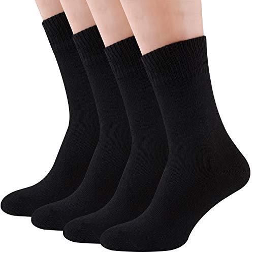 Air Wool Socks, 2 packs Merino Wool Organic Cotton Rich Mens Black Dress Socks (Black L) (Merino Wool Socks Men Black)