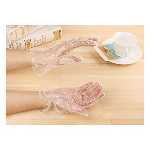 Disposable Clear Plastic Gloves, Powder Free Disposable Polyethylene Gloves, Food Gloves for Cooking, Cleaning, Food Handling, Latex Free, Large, Clear (Pack of 100)