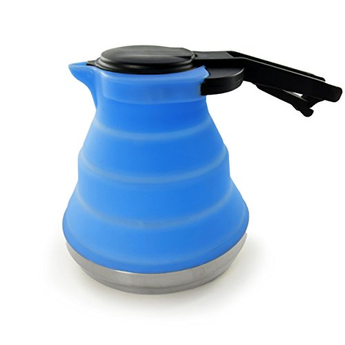 Teleskop - Teekessel, faltbare Teekanne aus Silikon mit hitzebeständigem Deckel, Outdoor Wasserkessel mit Edelstahlboden, Camping-Wasserkocher, Kaffeekanne, Farbe: blau - Marke Ganzoo