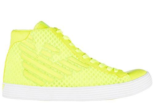 Emporio Armani EA7 scarpe sneakers alte uomo nuove fluopride 3d mesh giallo