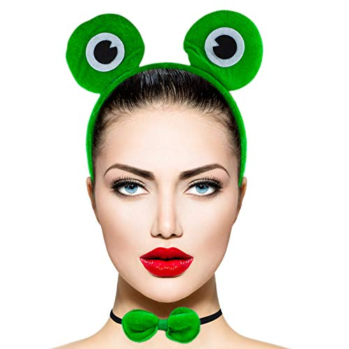 Lux Accessories Green Huge White Black Eye Frog Bowtie Tail Costume Dressup]()