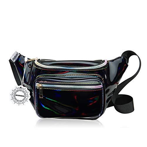Shiny Neon Fanny Bag for Women Rave Festival Hologram Bum Travel Waist Pack (Black)