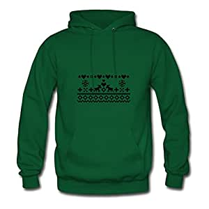 Green Elegent Christmas Embroidery Women Funny Hoody X-large